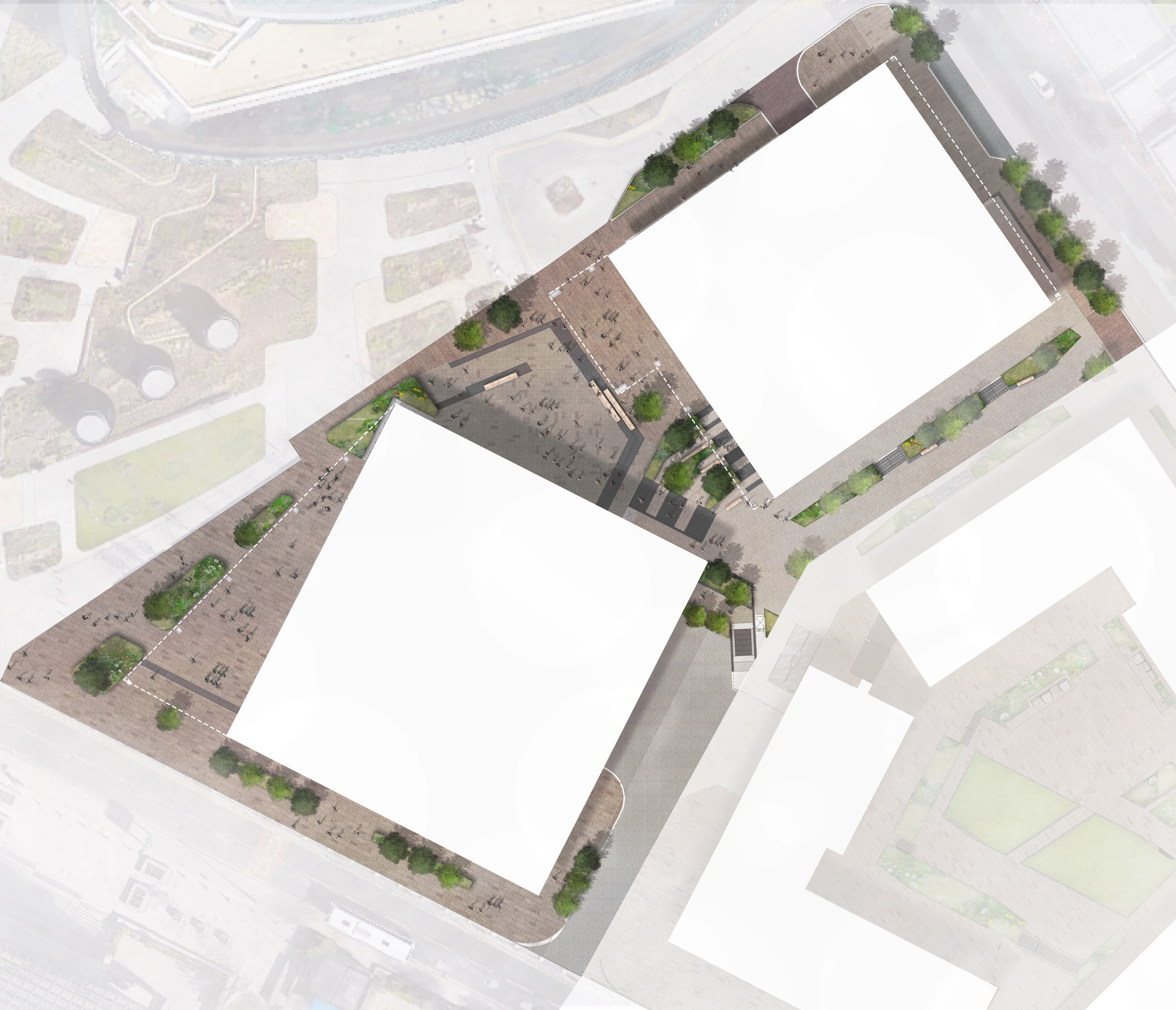 This is still a draft plan - the landscaping plans are still undergoing development. Material colours and other elements of the design are not completely accurate on this draft plan however, it gives a sense of the hard soft split and character of the spaces.